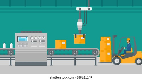 Robotic arm raises cardboard boxes and stacks them on forklift truck. Automated robotic production line for packaging of bottles in cardboard boxes. Vector flat design illustration. Horizontal layout.