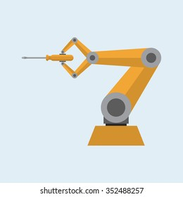 Robotic arm with screwdriver. Vector illustration