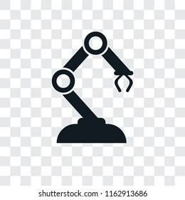 Robotic arm vector icon isolated on transparent background, Robotic arm logo concept