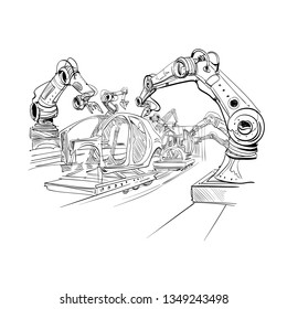 Robotic arms collect cars in the factory. Automobile production of the future. Hand drawn vector illustration.