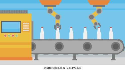 Robotic arms working on the conveyor belt at the plant for bottling of milk beverages. Robotic arms putting bottles on the conveyor belt at plant. Vector flat design illustration. Horizontal layout.