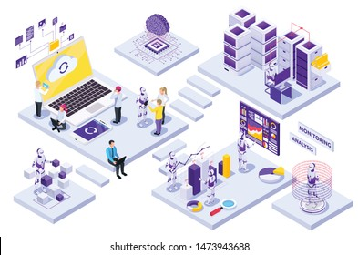 Robotic automation isometric composition with people working with robots on white background 3d vector illustration