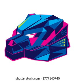 Robotic Bear Head in Futuristuc color style, perfect for Tashirt design, sticker, also electronic Music Band logo