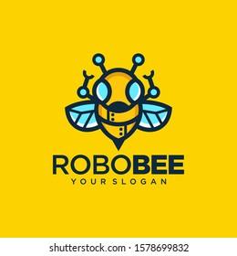 Robotic Bee Logo Symbol Vector Design Illustration