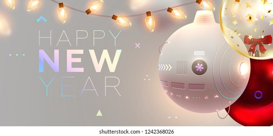 Robotic Christmas ball. Symbol of 2019 New Year of innovations, science and high technologies. Holiday cover with Xmas lights for poster, banner, placard and brochure. Eps10 vector illustration