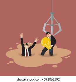 Robotic claw picking a businessman who has an idea from a quicksand. Business concept