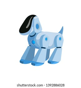 Robotic dog flat vector illustration. Cartoon electronic pet, robot puppy, modern kids toy isolated design element. Digital technology, robotics and automation, innovation and artificial intelligence