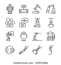 Robotic and Future factory machine icons set. Included the icons as robot, machine, electronic, auto, technology, factory and more.