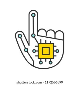 Robotic hand color icon. NFC or RFID implant. Digital hand. Microchip implant. Isolated vector illustration
