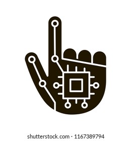 Robotic hand glyph icon. NFC or RFID implant. Digital hand. Microchip implant. Silhouette symbol. Negative space. Vector isolated illustration