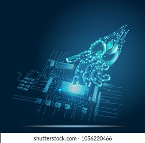 Robotic hand touching digital circuit board with index finger. Bionic technology in virtual world. Low poly vector illustration. 3D