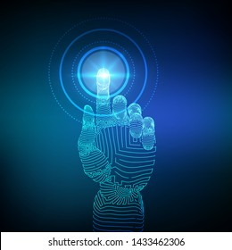 Robotic hand touching digital interface. Virtual reality. Touch the future wireframe illustration. Concept of communication world or cyber security. Robotics futuristic concept. Vector illustration.