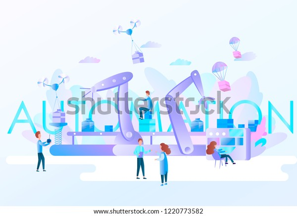 Robotic Hands Conveyor Belt Controlled By Stock Vector Royalty Free 1220773582