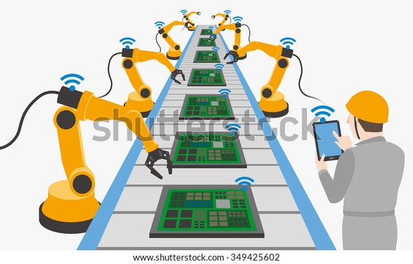 robotic hands and conveyor belt, controlled by engineer with Tablet PC, Factory automation, Industry 4.0, Internet of Things, vector illustration