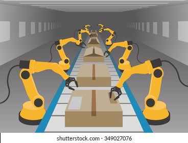robotic hands and conveyor belt, Factory automation, Industry 4.0, Internet of Things, vector illustration