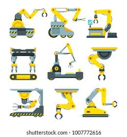 Robotic hands for machine industry. Illustrations of mechanical industrial equipment. Robot machine technology industry, mechanical robotic arm machinery vector