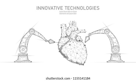 Robotic heart surgery low poly. Polygonal cardiology surgery procedure. Robot arm manipulator. Modern innovative medicine science automation technology. Triangle 3D render shape vector illustration