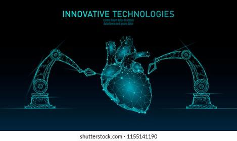 Robotic heart surgery low poly. Polygonal cardiology surgery procedure. Robot arm manipulator. Modern innovative medicine science automation technology. Triangle 3D render shape vector illustration
