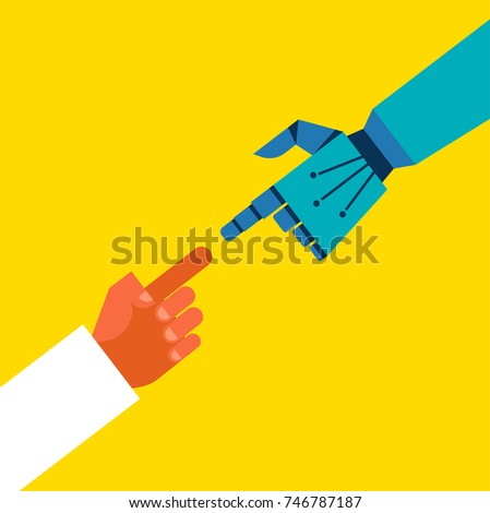 Robotic and human hands connection, communication concept illustration