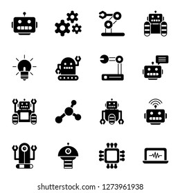 Robotic icons pack. Isolated robotic symbols collection. Graphic icons element