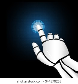 Robotic mechanical hand working with display. Vector illustration