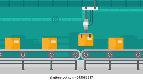 Robotic packaging conveyor belt. Automated robotic conveyor belt for packaging of products in cardboard boxes. Robotic arm working on conveyor belt. Vector flat design illustration. Horizontal layout.