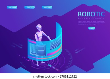 Robotic process automation landing page template with robots working with data, arms moving files, extracting information from websites, digital technology service, 3d isometric vector illustration