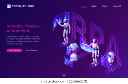 Robotic process automation or rpa isometric concept vector. Artificial intelligence robots analyze data and diagrams on dashboard virtual screens, SEO workflow isolated on purple, infographic banner