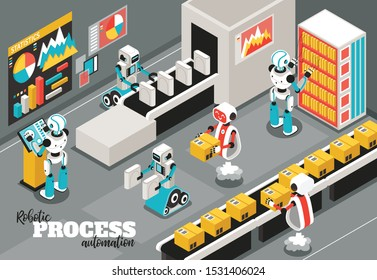 Robotic process isometric background with automation and reliability symbols vector illustration