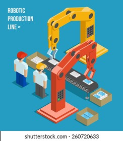 Robotic production line. Manufacturing and machine, automation and robotic and industry. Vector illustration