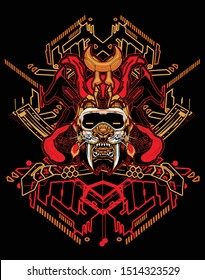 robotic samurai saber tooth tiger with  sacred geometry background
