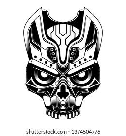 Robotic Skull vector illustration - Robot head vector character design - Vector