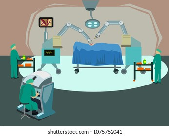 Robotic surgery or computer assisted operation concept. Editable Clip Art.