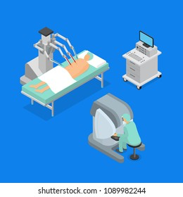 Robotic Surgery Concept 3d Icons Set Isometric View Robot Technology Computer Medical Equipment. Vector illustration of Electronic Innovation