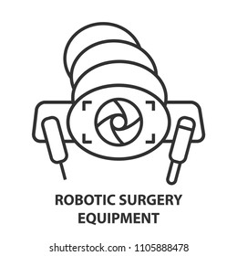 Robotic surgery equipment line icon. Robotic assisted surgery camera future linear design element. Vector illustration