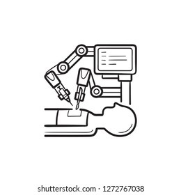 Robotic surgery hand drawn outline doodle icon. Robot surgeon, modern medical technologies, innovation concept. Vector sketch illustration for print, web, mobile and infographics on white background.