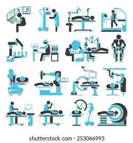 robotic surgery icons set, medical robot technology icons