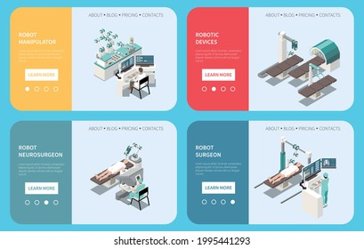 Robotic surgery isometric composition set with robotic device symbols isolated vector illustration