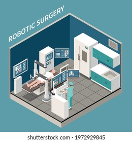 Robotic surgery isometric concept with medical treatment symbols vector illustration