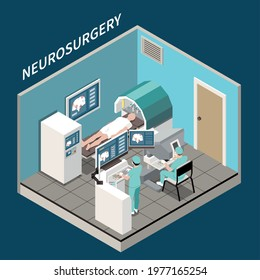 Robotic surgery isometric concept with medical neurosurgery symbols vector illustration