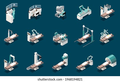 Robotic surgery isometric icons set with medical symbols isolated vector illustration