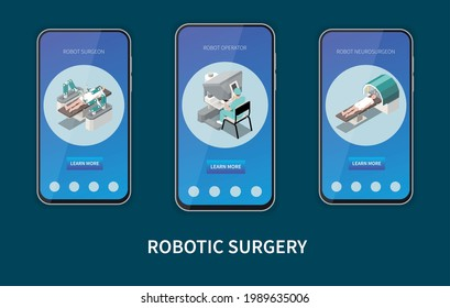 Robotic surgery isometric set with robot operator symbols isolated vector illustration