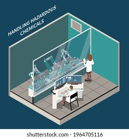Robotic surgery and medicine isometric concept with handling chemicals symbols vector illustration