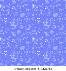 Robotic technology outline seamless pattern in  modern style for website or print illustration. Linear design, cartoon style.