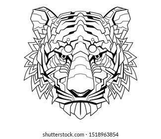 Robotic tiger head design vector. Outline image