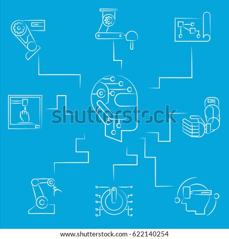 Robotics Concept Diagram Blue Background Stock Vector Royalty Free