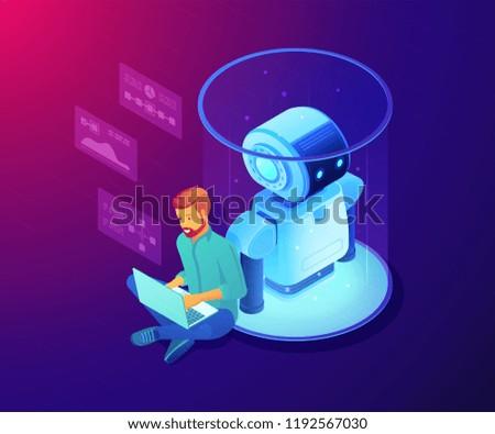 Robotics Engineer Working Laptop On Robot Stock Vector