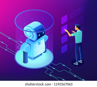 Robotics engineer working with robot data on virtual interface. Robotics data analysis, machine learning, self learning robot and ai concept. Ultraviolet neon vector isometric 3D illustration.