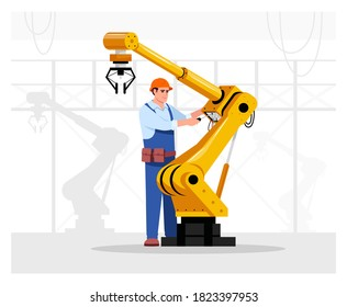 Robotics expert flat vector illustration. Industrial maintenance. Factory automated machine hand repairing. Manufactory male worker in hard hat 2D cartoon character for commercial use