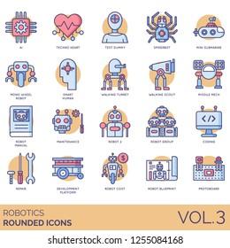 Robotics icons including ai, techno heart, test dummy, spiderbot, mini submarine, mono wheel robot, smart human, turret, scout, missile mech, manual, maintenance, coding, repair, blueprint, protoboard